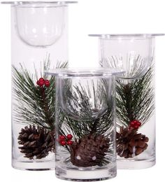 Set of 3 Glass Hurricane Candle Holders Filled with Holiday Flowers ~ Decorative Sphere Ball Candle Holders ~ Christmas Floral Home Decor Ce...
