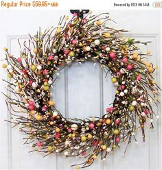 WREATH SALE Spring Wreath - Farmhouse Easter Wreath - Easter Egg Wreath - Primitive Wreath - Easter Home Decor - Easter Candle Ring - Easter