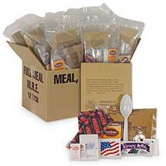 These MREs are genuine U.S. military.  Each has12 meals which has flameless ration heater--all you need is water. Each is in a waterproof polymer bag. Check out..http://thesurvivalevent.com