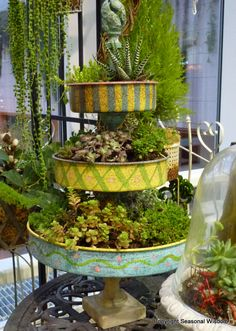 Three tiered container with succulents - I think these are large cake pans. So colorful! At #nwfgs