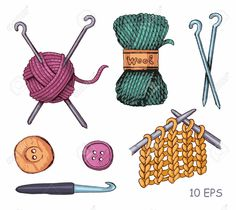Illustration of Knitting illustrations. Hand drawn needle, scissors, ball of yarn, knitting needles and crochet vector art, clipart and stock vectors. Knitting Wool, Knitting Needles, Wool Yarn, Hand Knitting, Easy Crochet Patterns, Knitting Patterns, Sewing Tattoos, Purl Bee, Yarn Store