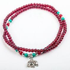 Hot Sale Garnet Beads Bracelets Vintage Folk-custom Handmade Beaded Bracelet Lucky Lock Jewelry For Women Gift