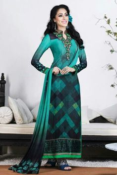 French Crepe Printed Salwar Kameez in Sea Green and Black Colour.It comes with matching Dupatta and Bottom.It is Crafted with Printed Design...