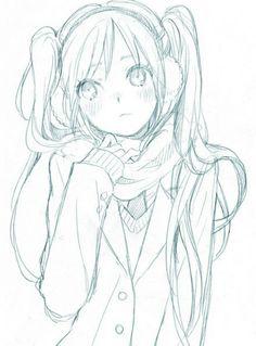 ✮ ANIME ART ✮ girl. . .coat. . .scarf. . .earmuffs. . .cold. . .blushing. . .long hair. . .twin tails. . .moe. . .drawing. . .doodle. . .pencil. . .graphite. . .cute. . .kawaii