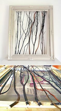 Tracie at 'Cleverly Inspired' used a garage sale frame and some branches to create one of a kind wall art! Easy tutorial…