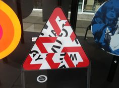50 Years of British Road Signs  - London's road signs reinterpreted at the Design Museum - Triangle mash up?