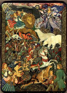 Vera Smirnova, Palekh Russian Lacquer box - The Chronicles of Narnia