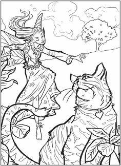 fairy + Cat color sheet @Eileen Lucas Publications
