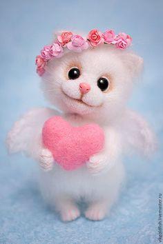 Knit Kitty angel toy / Игрушки животные, ручной работы. Ярмарка Мастеров - ручная работа. Купить Мурочка-Амурочка. Handmade. Белый, игрушка ручной работы