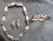 Vintage Margot de Taxco Sterling Silver Necklace Bracelet Earrings Matching Set