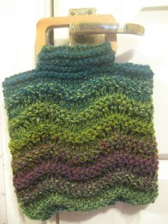 Knitted Green Multi Small Handbag with Wooden Handles £6.00