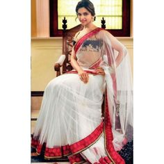 Deepika Padukone White Stylish Designer Heavy Saree. Get 51% discount on sarees only on shoppyonline.com