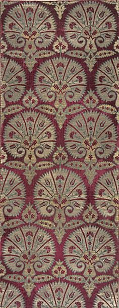 Textile Length with Design of Stylized Carnations Turkey, second half of century Textiles; textile lengths Cut and voided silk velvet on metallic ground Motifs Textiles, Textile Fabrics, Textile Patterns, Textile Prints, Textile Design, Textile Art, Fabric Design, Pattern Design, Pattern Texture