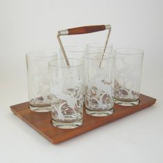 Vintage Gazelle Glass Tumblers with Serving Tray by WoolTrousers