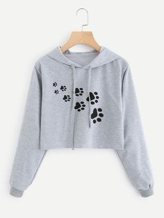New Style Fashion Women Female Sweatshirt Tracksuit Loose Gray Cat Footprint Print Short Hoodies Tops Blouses Sweatshirts Teenage Outfits, Teen Fashion Outfits, Girl Outfits, Fashion Women, Crop Top Outfits, Cute Casual Outfits, Crop Top Hoodie, Cropped Hoodie, Vetement Fashion