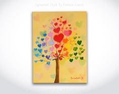 Valetine's Day Gift ORIGINAL Abstract Blossom Heart Tree Fine Art Textured Bright Oil Palette Knife Painting 12x16 Canvas by Denisa Laura