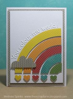 'You Color My World' card by Melinda Spinks / love the use of different colored swiss dot papers