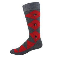 Men's Argyle Penguins Socks on Gray
