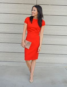 Little Red Dress What to Wear to Theatre Red Dress Outfit Casual, Fall Dresses, Dresses For Work, Little Red Dress, Date Outfits, Work Outfits, Business Outfits, Houston, Lady