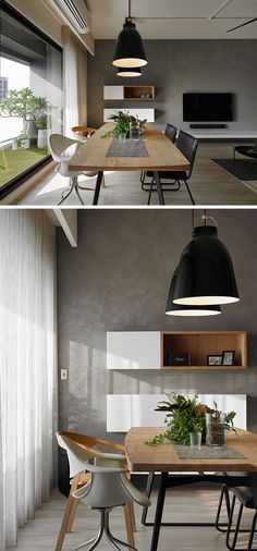 This dining room has been positioned next to the window and small balcony, taking advantage of the light.