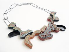 "Yiota Vogli, ""Islands"" necklace, Layers of Memory, silver, oxidation, bronze, argentum, paper www.yiotavogli.com - PAPER JEWELRY! Layers of Memory 2015 2015 Jewelry Collection. silver, oxidized, paper"