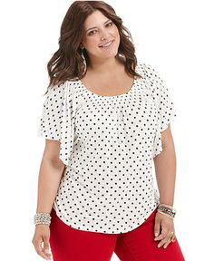American Rag Plus Size Top, Short-Sleeve Polka-Dot - Plus Size Tops - Plus Sizes - Macy's