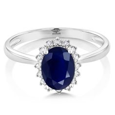 Blue Sapphire and Diamond Ring in 10K White Gold