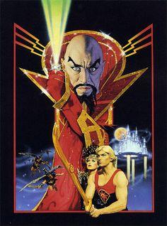 """""""Flash Gordon"""", la excesiva cinta ochentera de Dino de Laurentiis dirgida por Mike Hodges es famosa por las canciones de Queen en la banda sonora. Pero no menospreciemos este magnífico cartel de Richard Amsel."""