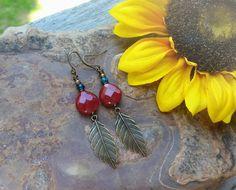 Red Jade & Chrysocolla Leaf Earrings ~Gemstone Boho Jewelry
