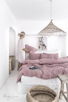 Linen bedding set in Woodrose (Dusty Pink). King/ Queen washed linen duvet cover set with 2 pillowcases. - Interiors I love - Linen bedding set in Woodrose (Dusty Pink). King/ Queen washed linen duvet cover set with 2 pillowc - Washed Linen Duvet Cover, Bed Linen Sets, Bed Sets, Duvet Sets, Duvet Cover Sets, Ikea Duvet Cover, Linen Bed Sheets, White Sheets, Bed Covers