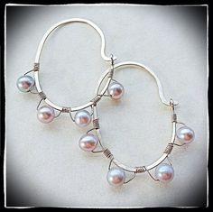Handmade sterling silver hoop earrings wire wrapped  with gray  Sqarovsku pearls- Meredith Terry Earrings   on Etsy, $30.00