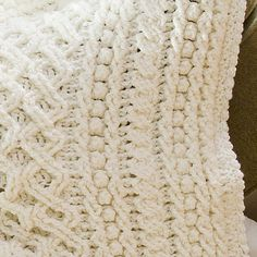 Lattice Weave Throw by Mary Jane Protus FREE crochet pattern for white textured bobbled and cabled blanket (1/2) (hva)