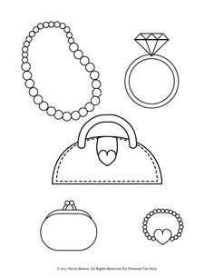 Free Printable Coloring Pages for Girls with a stylish purse, coin purse, pearl necklace, pearl bracelet with a heart, and big diamond ring, Enjoy