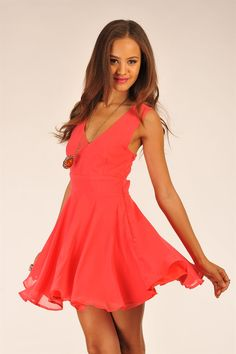 Stanton Flirty Dress- Coral. from Necessary Clothing in SoHo