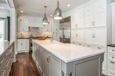River White Granite Countertops - Transitional - kitchen - Sherwin Williams Dorian Gray - K Sarah Designs Painted Kitchen Island, Grey Painted Kitchen, White Kitchen Cabinets, Kitchen Paint, Kitchen Decor, Shaker Cabinets, Kitchen Ideas, White Cupboards, Kitchen Grey