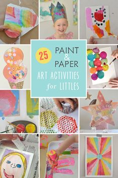 25 gorgeous and EASY art projects for little ones that use just paint and paper.  It doesn't get any easier!  From Art Bar Blog for Fun at Home with Kids