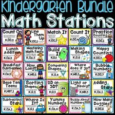 This bundle includes 1 math station for each of the Kindergarten common core…