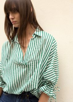 Green Striped Batwing Top – The Frankie Shop Batwing Top, Bat Wings, Green Stripes, V Neck Tops, Get The Look, I Dress, Different Styles, Your Style, Pullover