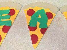 10 TMNT Pizza Slices with Letters for Banners, Scrapbooking, Favors ETC. would be cute for a pizza party too Turtle Birthday Parties, Ninja Turtle Birthday, Ninja Turtle Party, Birthday Fun, Ninja Turtles, Birthday Ideas, Ninja Party, Baby, Mutant Ninja