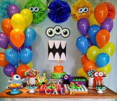 Monster party First Birthday Party Little Monster Birthday, Monster 1st Birthdays, Monster Birthday Parties, First Birthday Parties, First Birthdays, 1st Birthday Themes, Baby 1st Birthday, Birthday Party Decorations, Halloween Decorations
