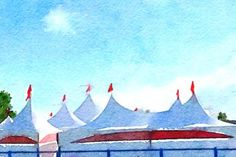 Bard on the Beach Tent Tops - Limited Edition 1 of 50 Beach Tent, New Media, Watercolours, Fine Art Paper, Saatchi Art, Art Prints, Canvas, Digital, Tela