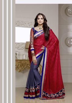 Red and blue #silk #wedding #designersaree with blue- golden border