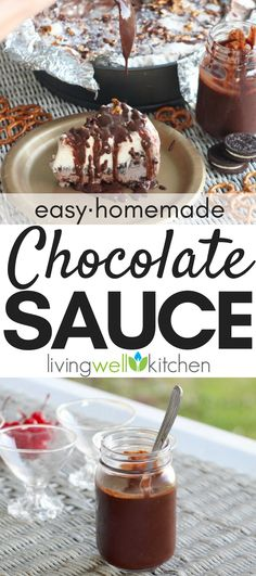 Easy Chocolate Sauce How to make a super simple, four ingredient chocolate sauce made with chocolate chips. This easy homemade chocolate sauce recipe is great for drizzling over desserts like cheesecake, dipping for fruit, or topping ice cream! Chocolate Sauce For Cake, Homemade Chocolate Sauce, Chocolate Sauce Recipes, Chocolate Dipping Sauce, Healthy Chocolate, Chocolate Chips, Chocolate Snacks, Chocolate Cupcakes, Homemade Sauce