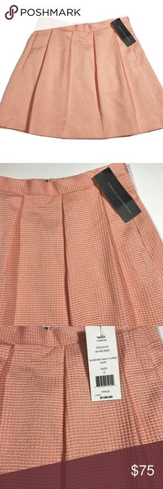 """FCUK 🍑 Sunshine Walk Skirt Melrose Peach 4 NWT French Connection FCUK Sunshine Walk Pleaded Skirt IN MELROSE PEACH Size 4 ribbed material, two pockets, skirt shown in pink on model but selling a beautiful peach color. NWT. Approximate flat measurements: 13.5"""" waist / 16.5"""" length French Connection Skirts Mini"""