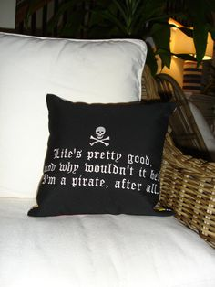 Sunbrella 14x14 Pillow, Pirate Theme Pillow, Throw Pillow, Beach Decor, Indoor/Outdoor Black Custom Embroidered Pirate Pillow Cover