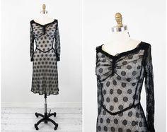 vintage 1940s 40s dress // Black Fishnet by RococoVintage on Etsy, $192.00