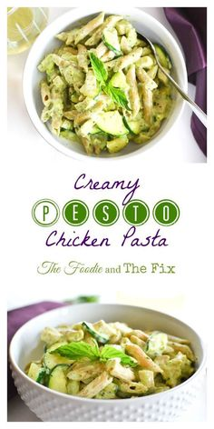Creamy Pesto and Chicken Pasta that is 21 Day Fix approved.