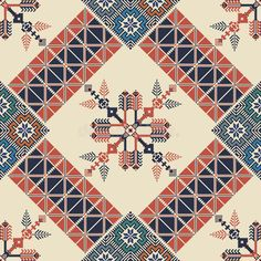 Embroidery Motifs, Cross Stitch Embroidery, Cross Stitch Floss, Everything Cross Stitch, Palestinian Embroidery, Creative Arts And Crafts, Modern Cross Stitch Patterns, Fabric Patterns, Quilt Blocks