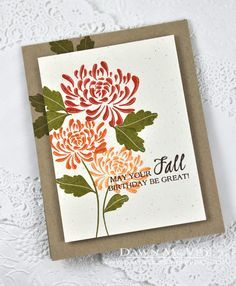 Fall Mums Birthday Card by Dawn McVey for Papertrey Ink (August 2014)