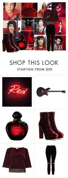 """Meeting With My Heroes In Red!"" by isabeldizova ❤ liked on Polyvore featuring Dirty Pretty Things, Jimmy Choo, River Island and New Look"